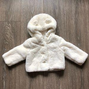 Baby Gap Off White Faux Fur Bear Jacket